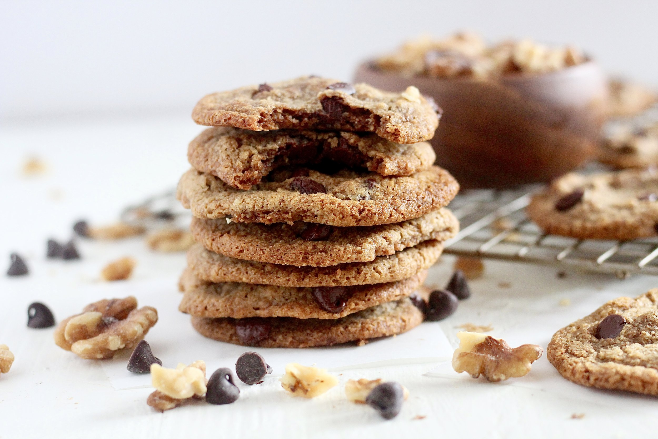 Grain Free Walnut Chocolate Chip Cookies