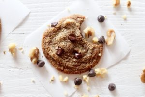 Grain free Walnut Chocolate Chip Cookies with chocolate chips and walnut pieces