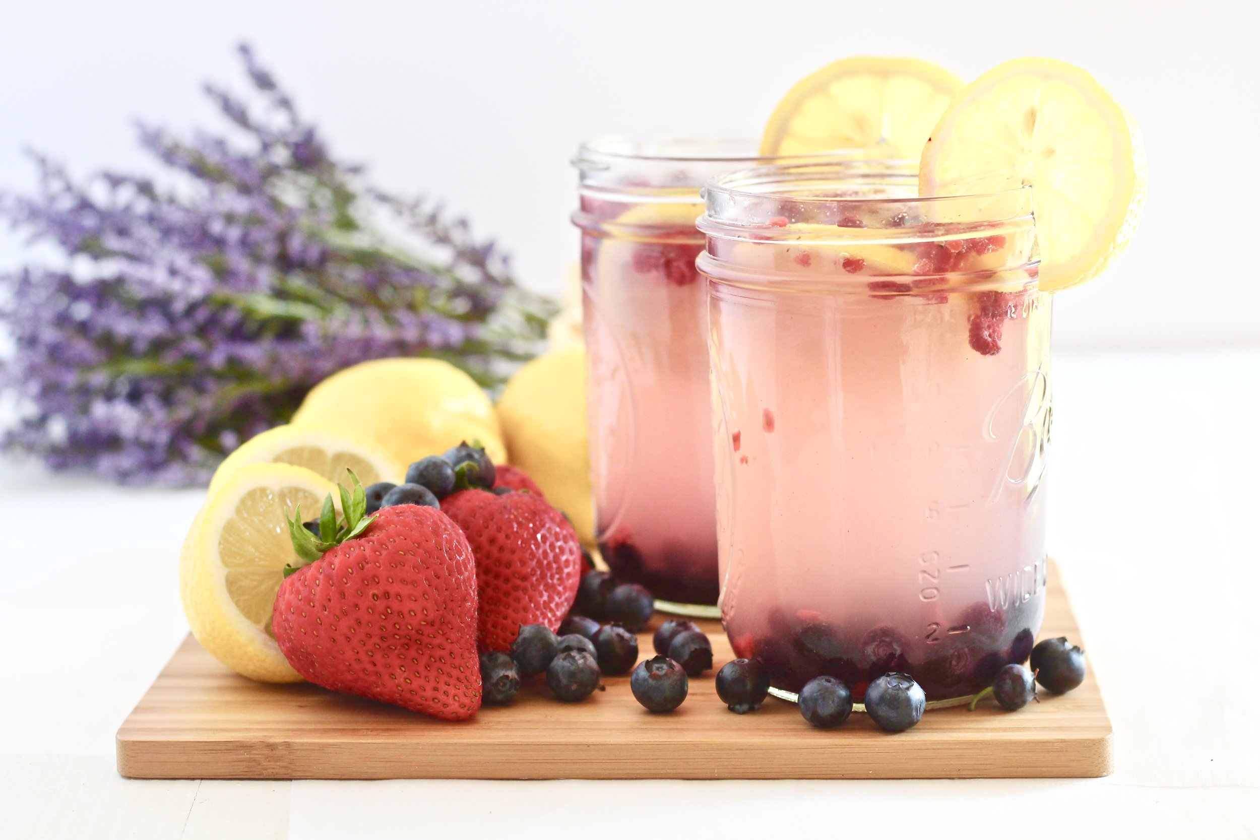 Easy Last Minute 4th of July Cookout Recipes; Pictured:  Lavender Berry Sparkling Lemonade  by Milk & Honey Nutrition