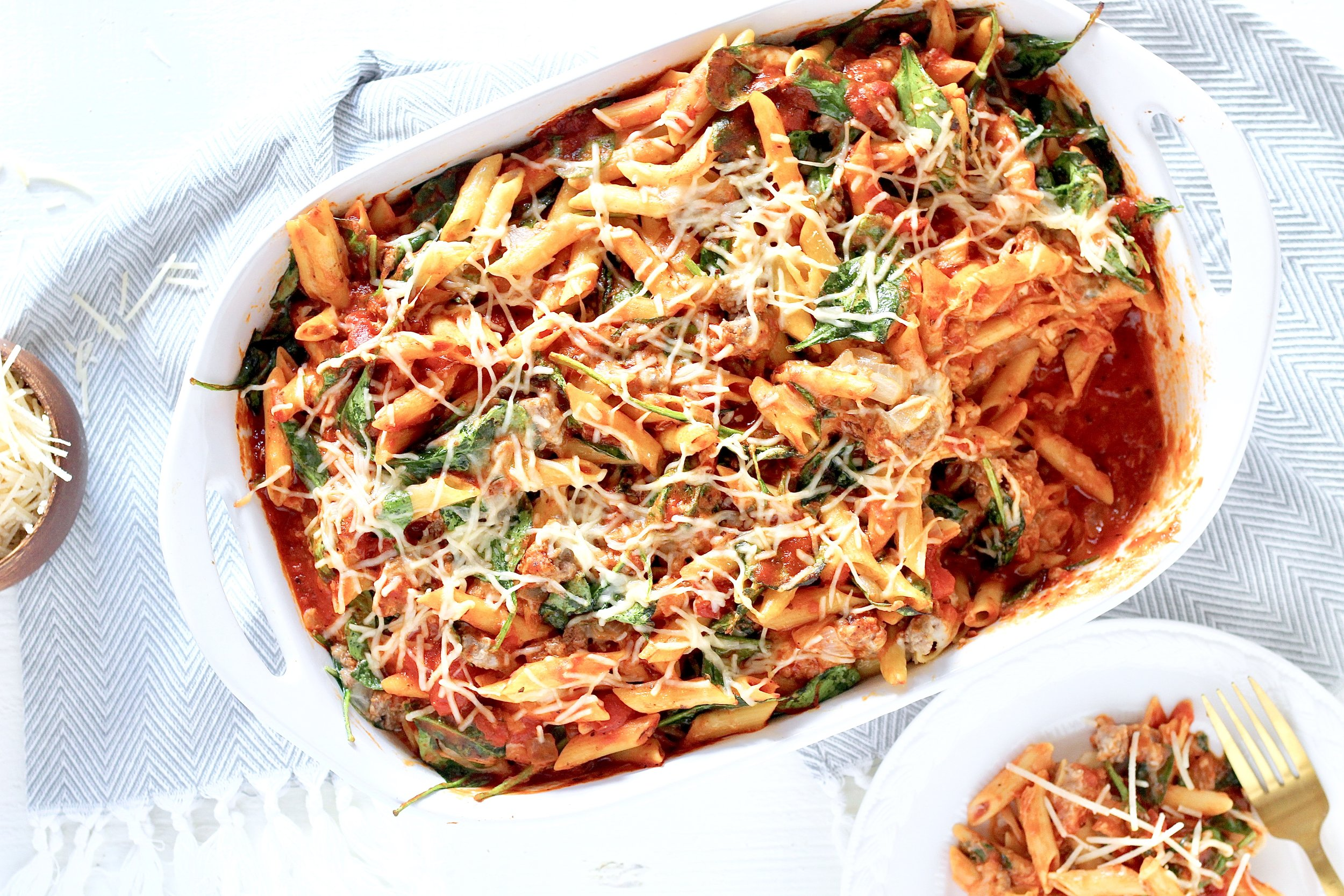 Cheesy Ground Lamb and Spinach Pasta Bake