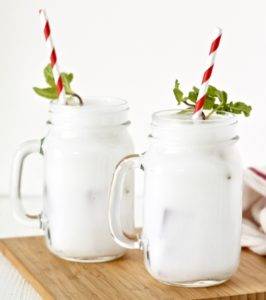 Peppermint Pick Me Up Mocktail with fun straw