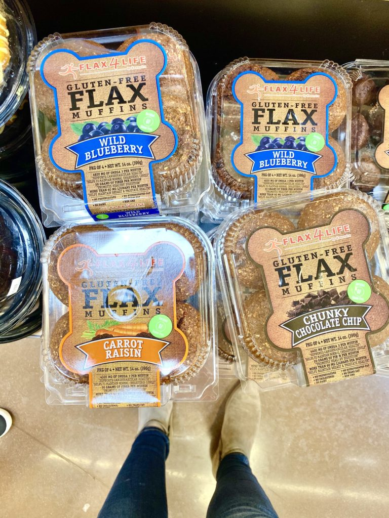 flax 4 life gluten free flax muffins in plastic container wild blueberry, carrot raisin, chunky chocolate chip