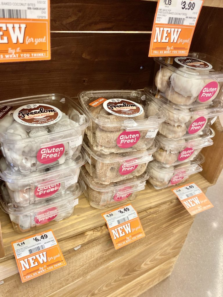 freedom gluten free donuts at sprouts in plastic containers