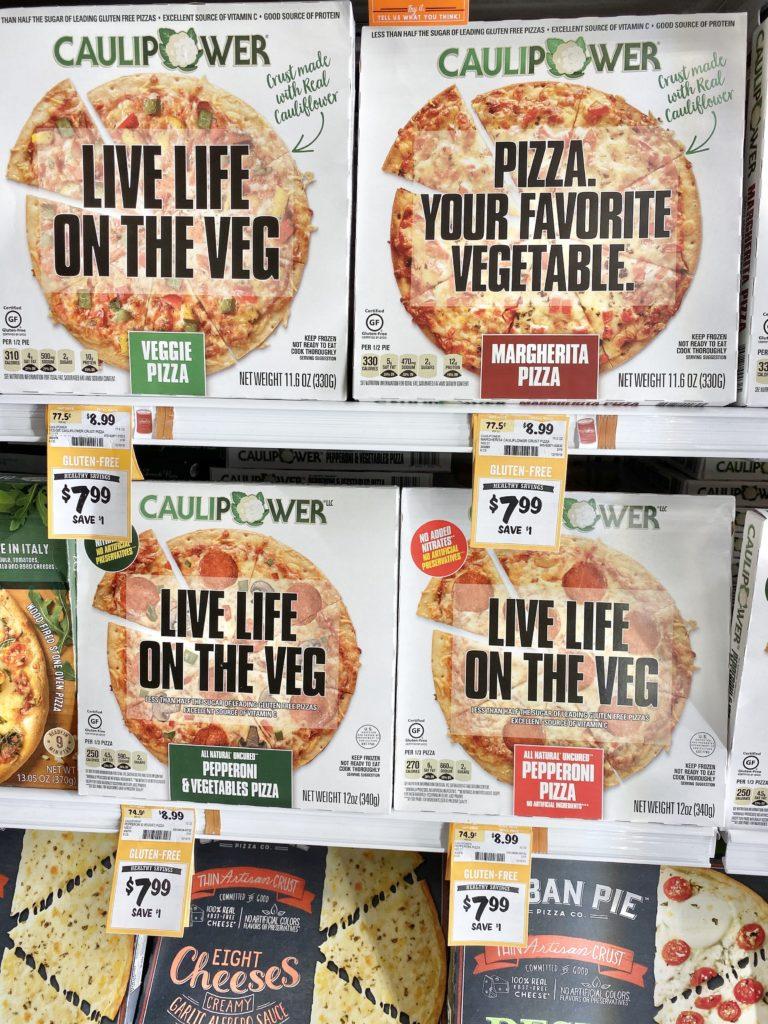 caulipower pizza on shelf at sprouts veggie, margherita, pepperoni, pepperoni & veggie