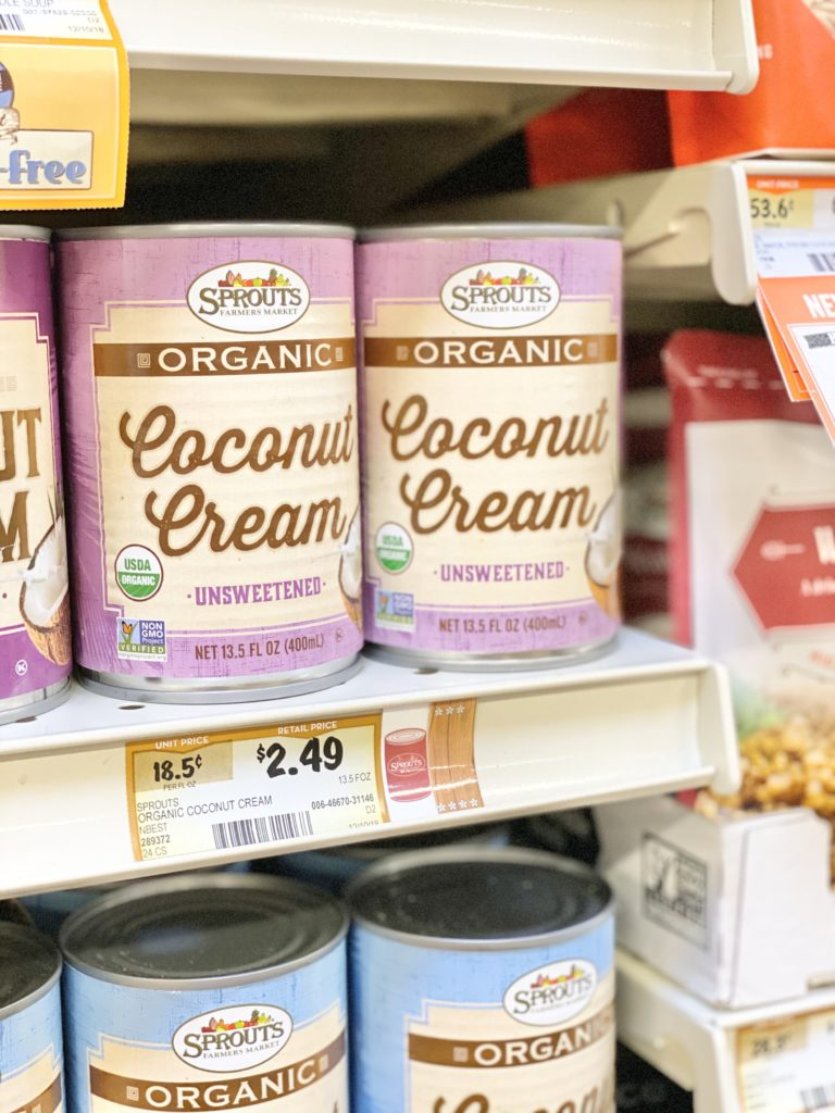 sprouts organic coconut cream unsweetened on shelf