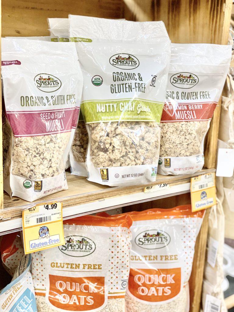 organic and gluten free muesli and granola on shelves