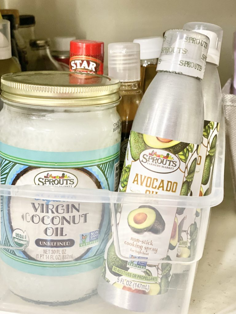 pantry shelf coconut oil and avocado oil spray milk and honey nutrition