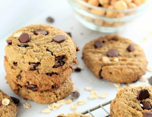 oatmeal chocolate chip high protein cookies stacked