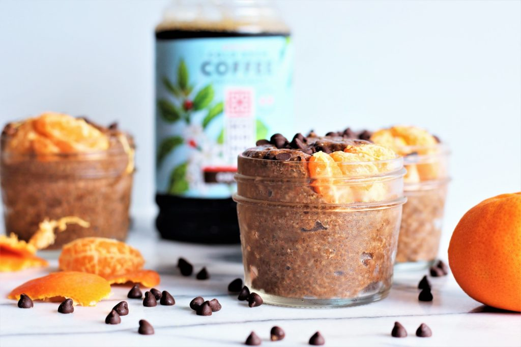 orange mocha chia pudding with kohana and chocolate chips