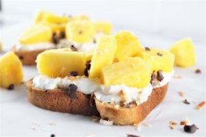 pina colada toast topped with pineapple