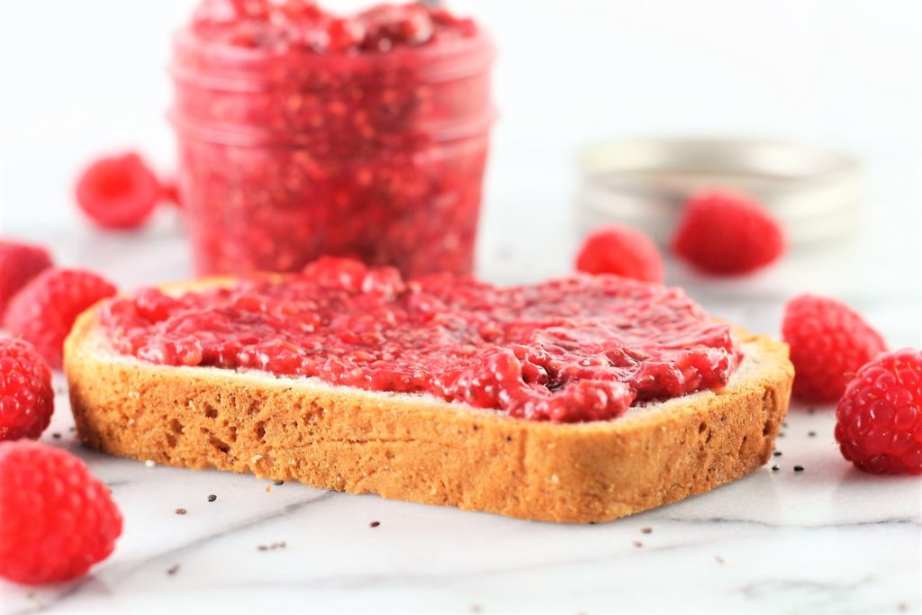 raspberry chia jam on piece of toast