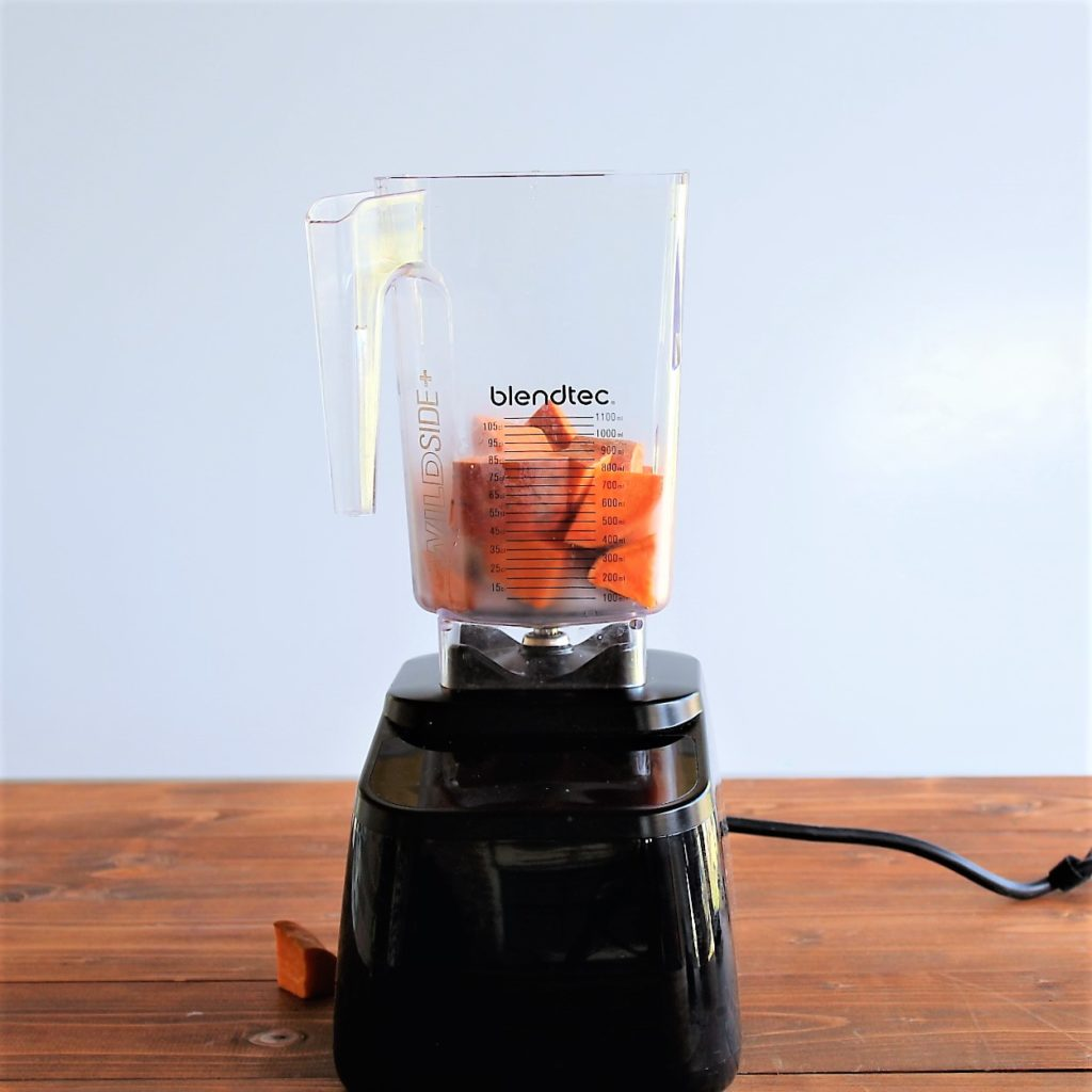 blender with sweet potato