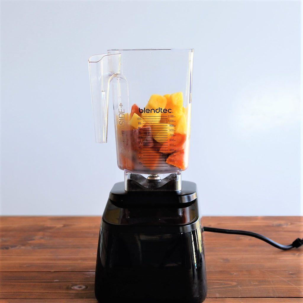 blendtec smoothie blender with sweet potato chunks