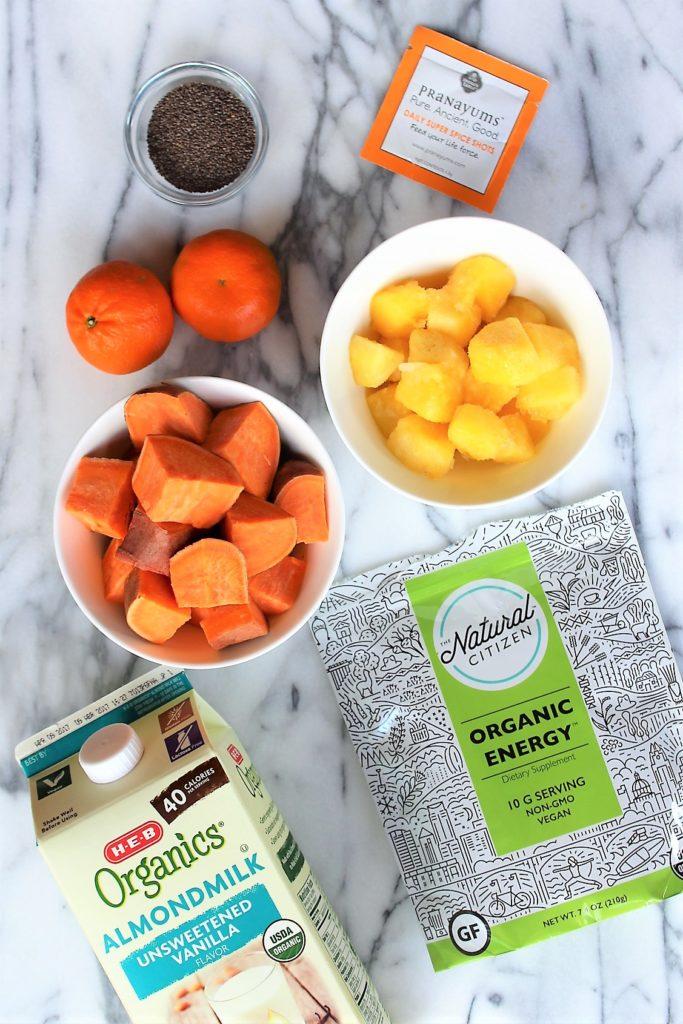 aerial view of sweet potato sunrise smoothie ingredients