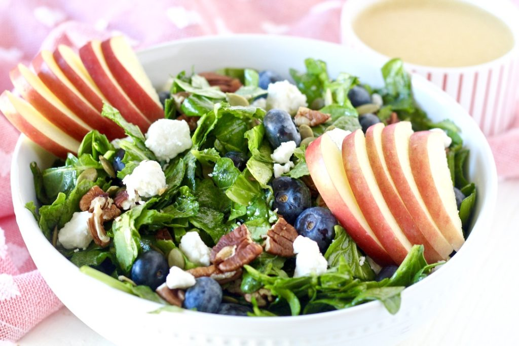 salad with pecans blueberries and apples