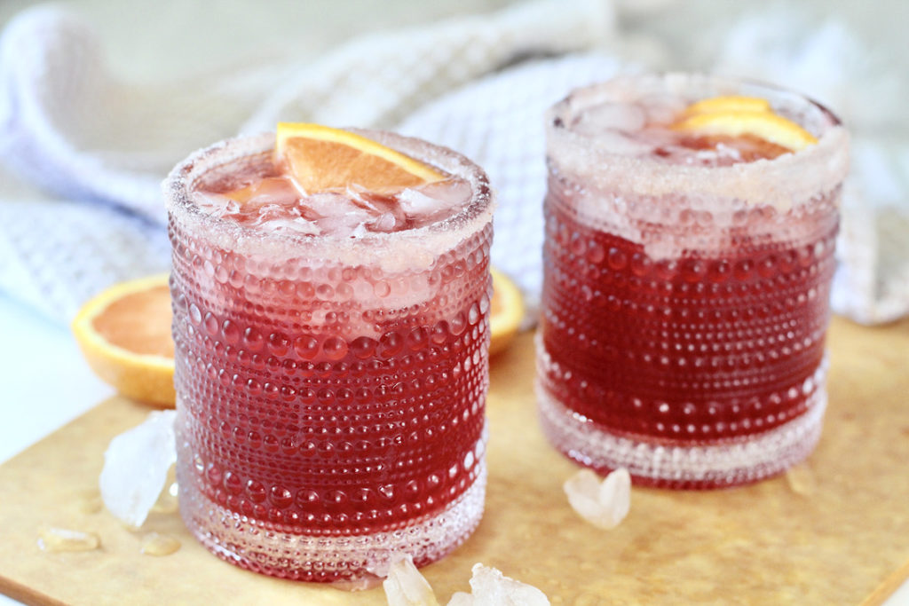 two pomegranate martinis