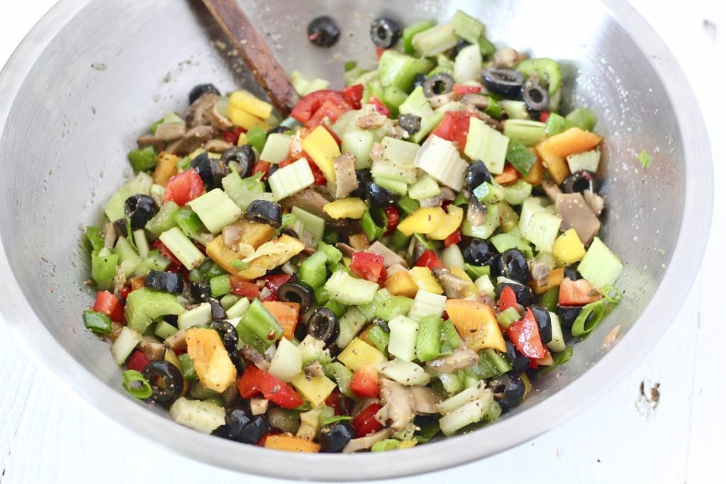 chopped veggies in a bowl