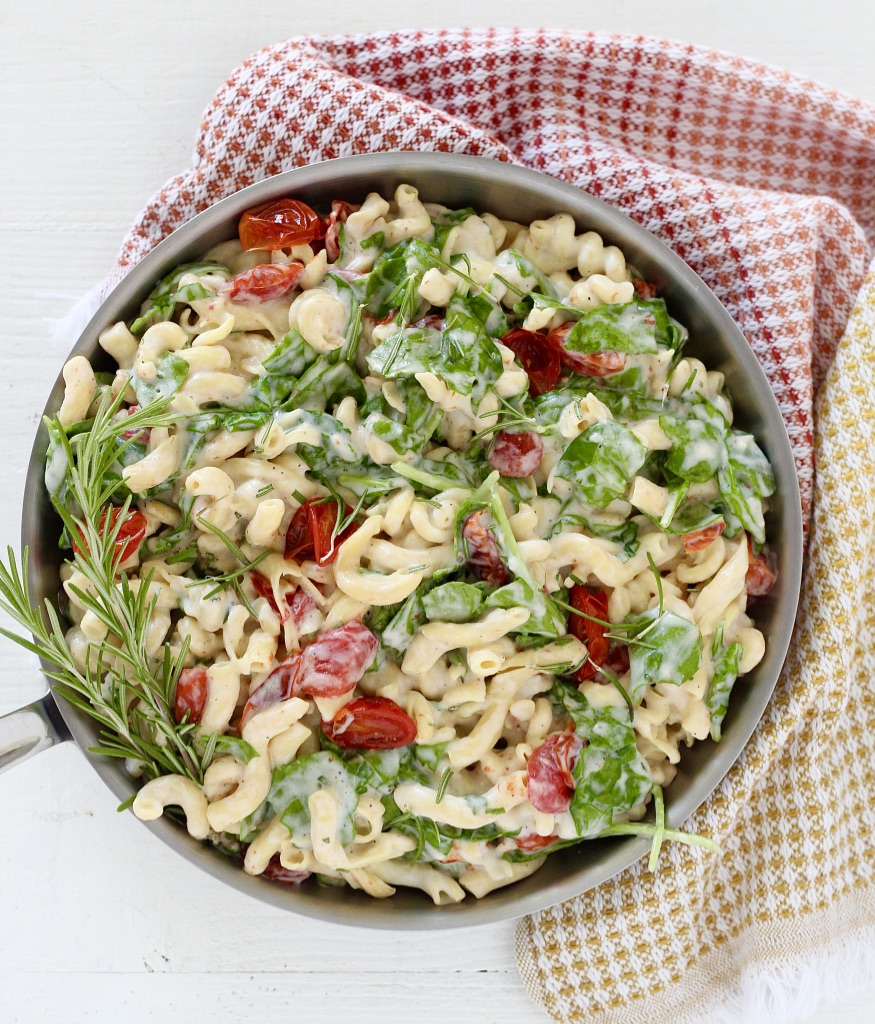 pasta dish in skillet