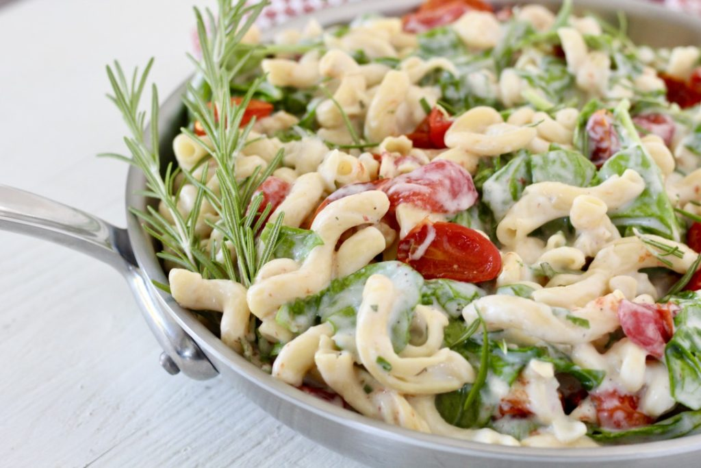 pasta dish in stainless steel skillet chickpea pasta for blood sugar balance