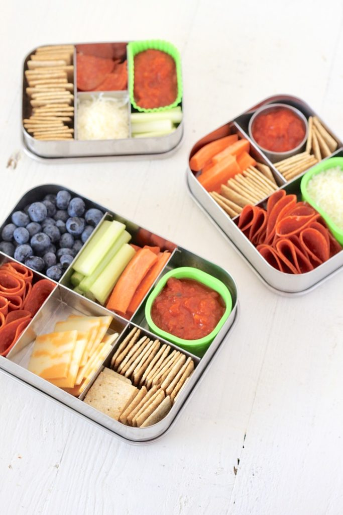 three kids bento box lunches