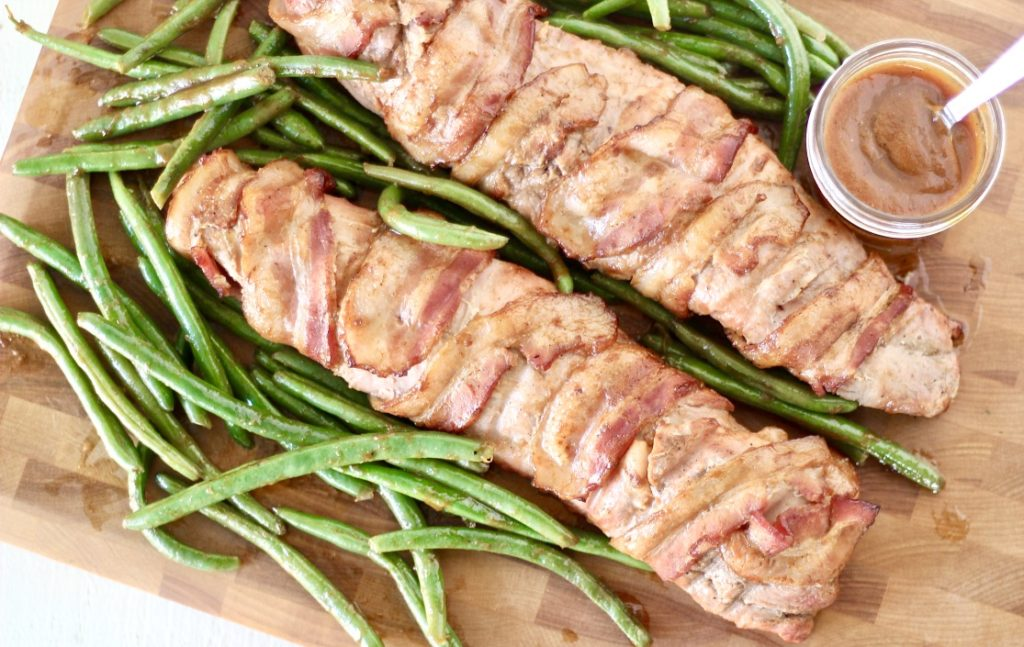 pork tenderloin with bacon and green beans and peach barbecue sauce