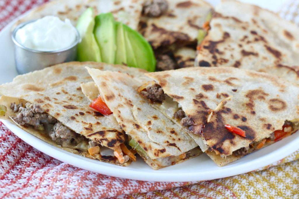 ground beef quesadillas on white plate