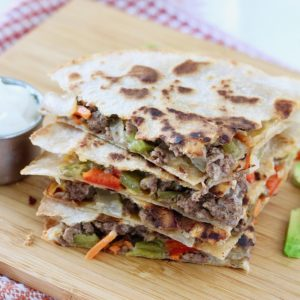 veggie and beef quesadillas with sour cream