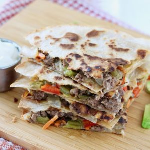 Cheesy Veggie & Ground Beef Quesadillas