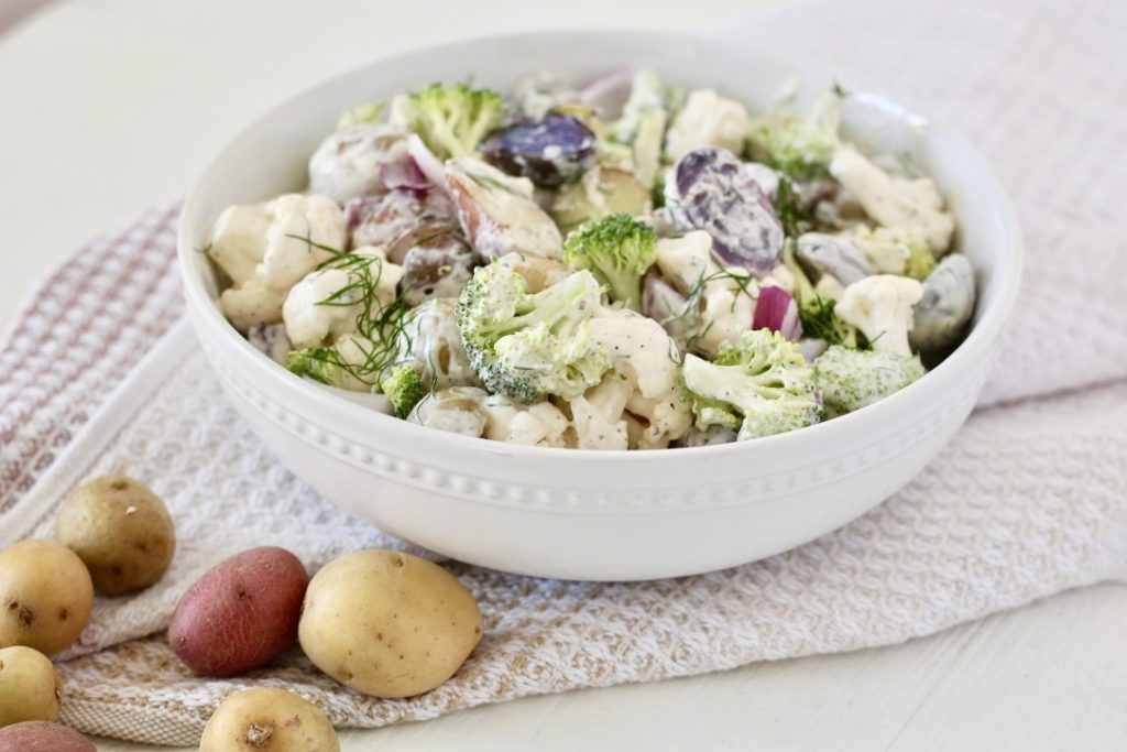 potato salad in bowl with potatoes