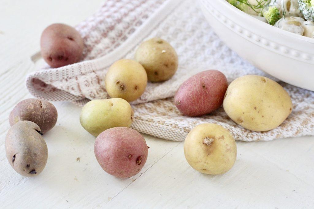 potatoes on towel