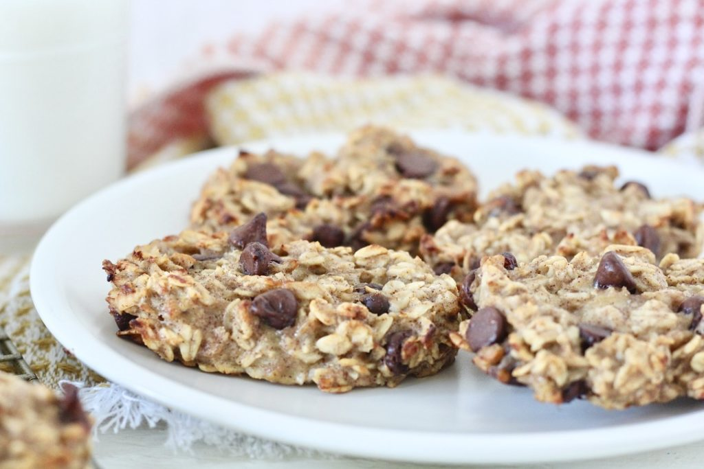 oatmeal chocolate chip bars on white plate