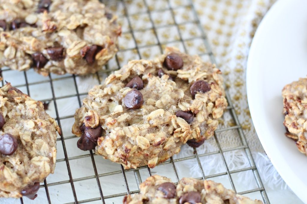 oatmeal chocolate chip bars on cooling rack
