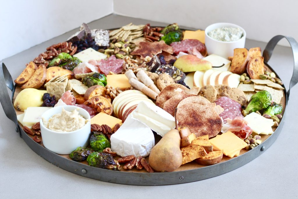 fall charcuterie on wooden serving tray
