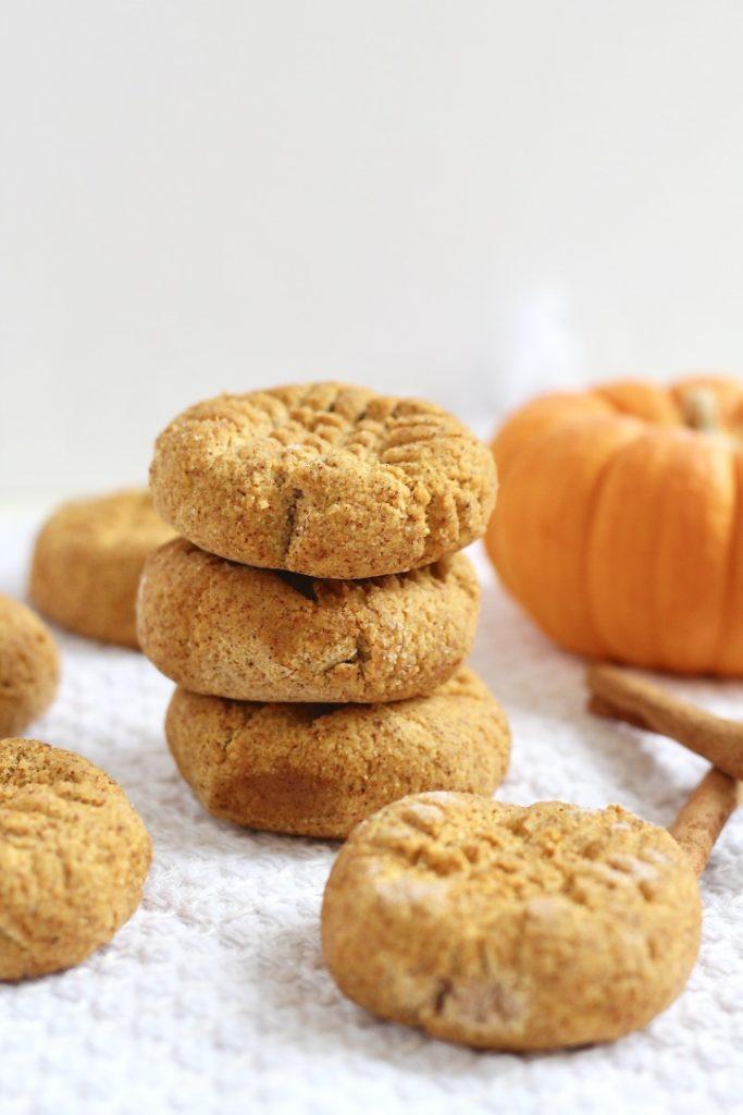 stack of three pumpkin cookies