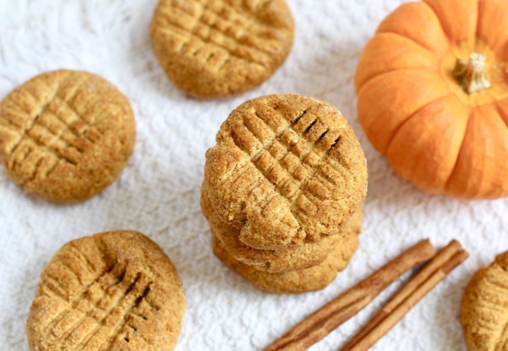 no bake pumpkin cookies on white dish towel