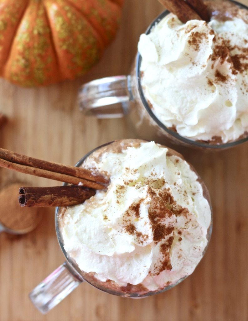 two cups of hot chocolate with whipped cream and cinnamon