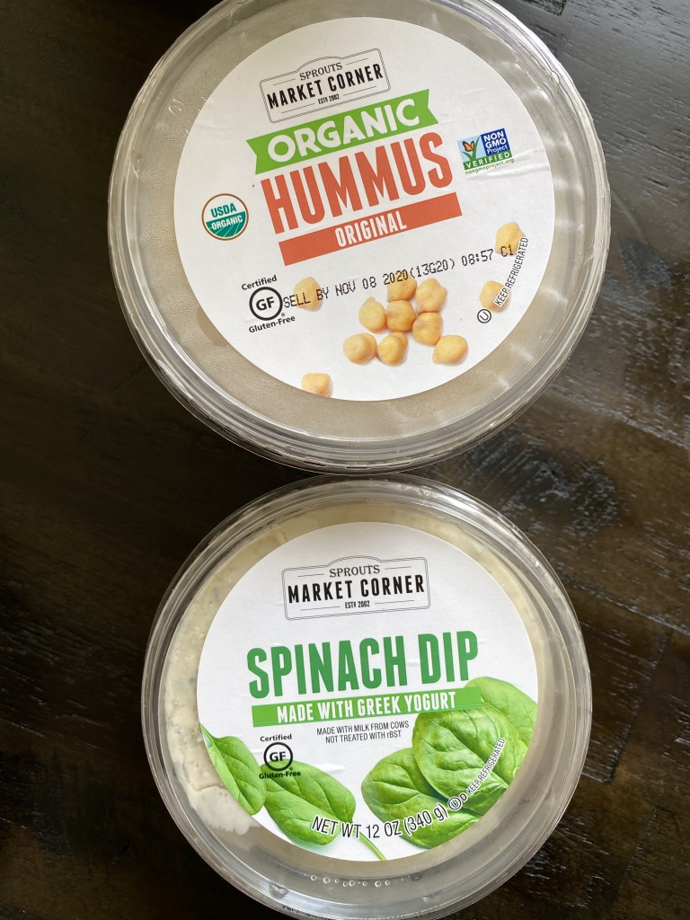 sprouts brand hummus and spinach dip