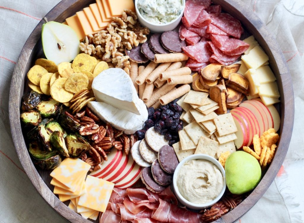 fall themed charcuterie board on a lazy Susan