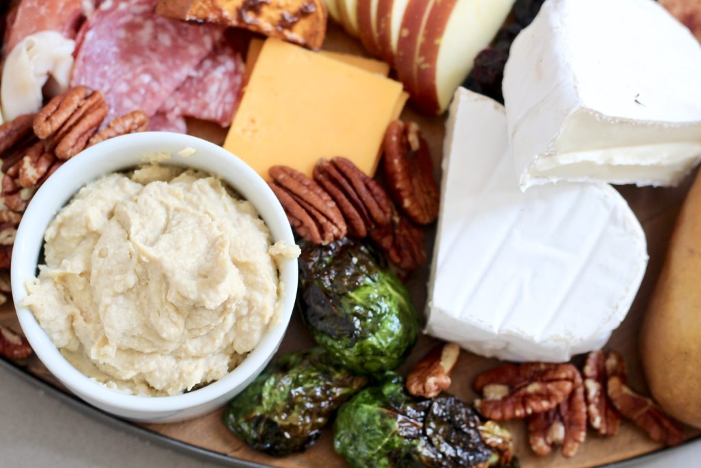 hummus on fall charcuterie board