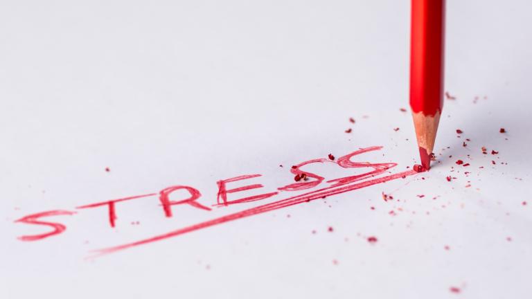 stress written in red pencil