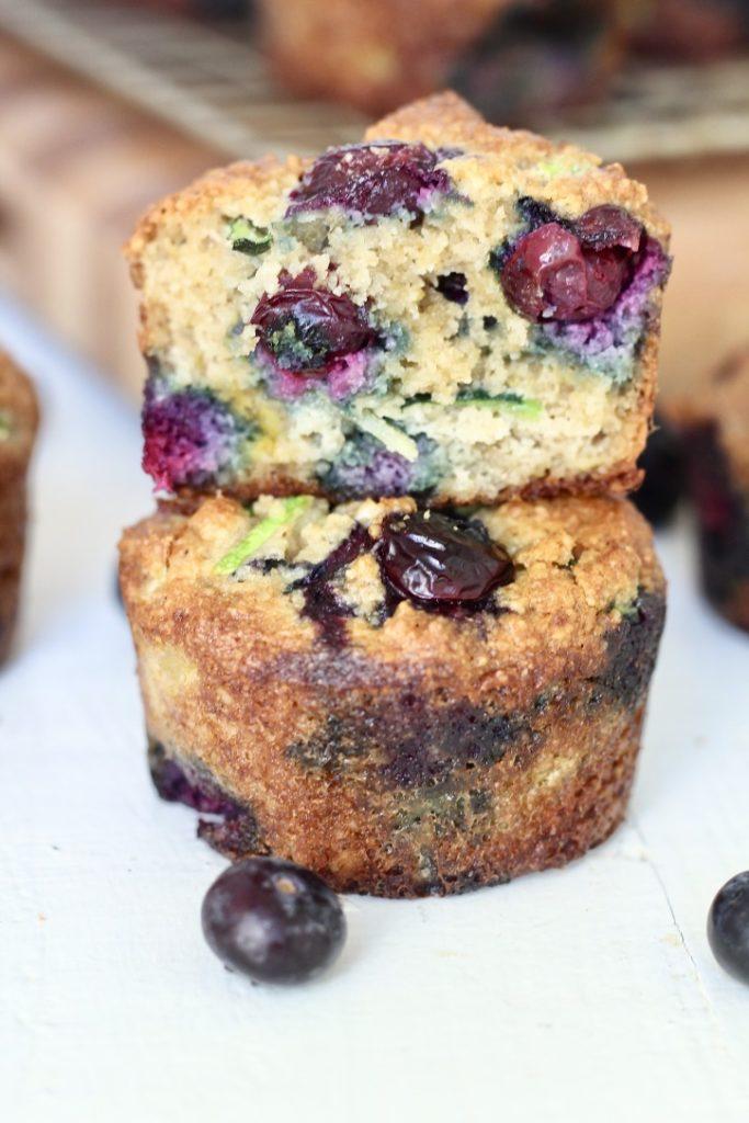two blueberry zucchini muffins
