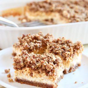 Gluten-Free Pumpkin Cheesecake Bars with Oatmeal Crust