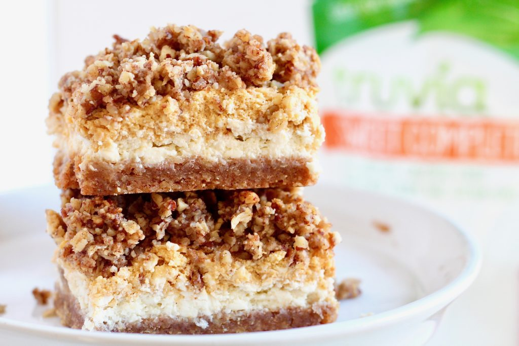 two layered cheesecake bars with truvia