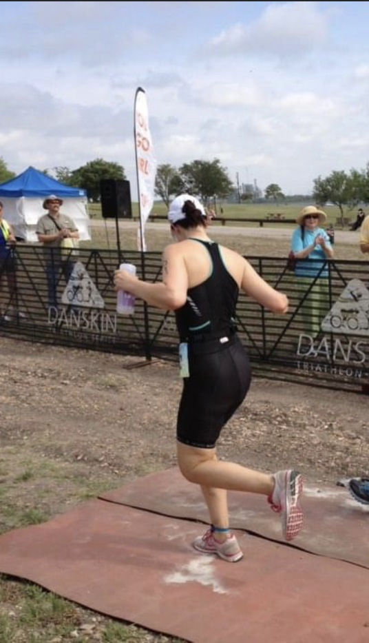 woman with diabetes running triathlon