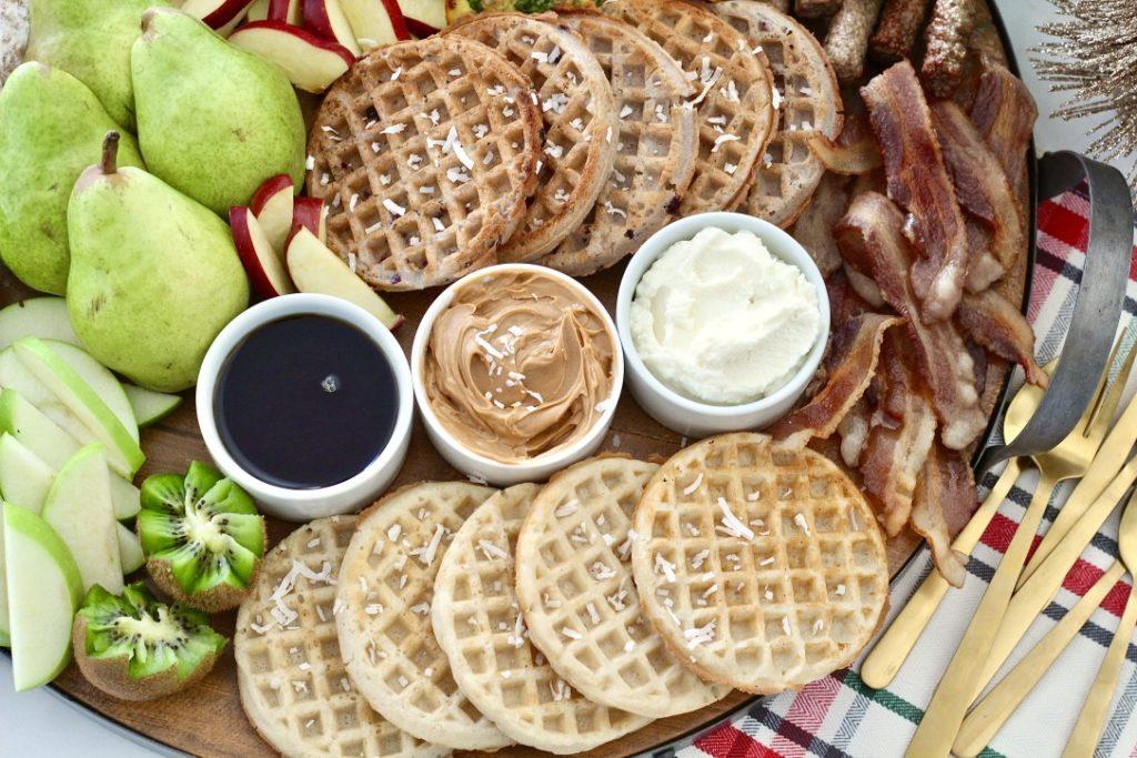 waffles on breakfast board