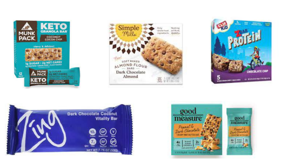 MunkPack KETO Bars, Simple Mills Soft Baked Bars, Zing Protein Bars, Clif Kids Protein Bars, Good Measure Bars packaged snacks for diabetes