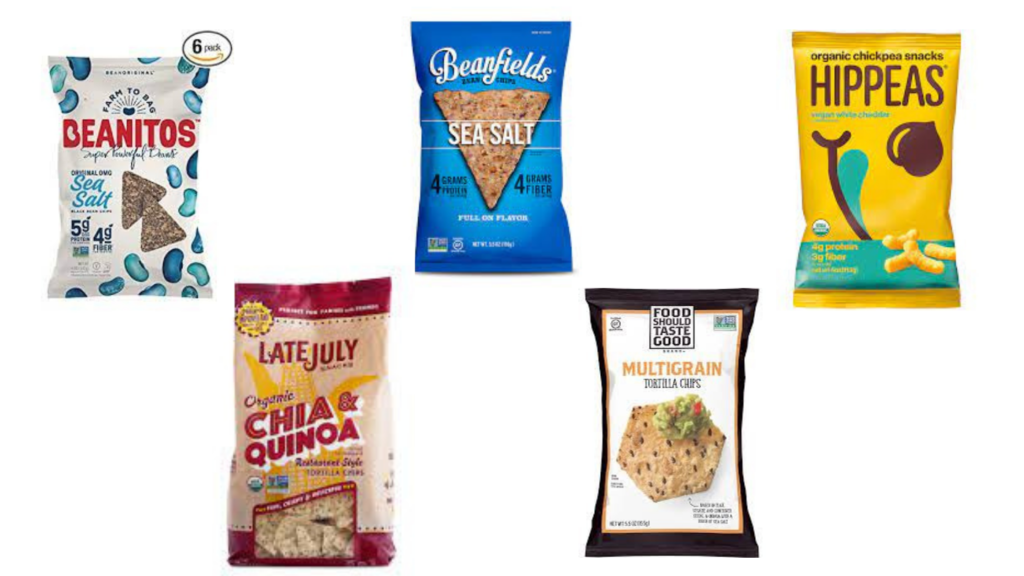 Beanitos chips, Hippeas White Cheddar Chickpea puffs, Food Should Taste Good Tortilla Chips, Late July Organic Chia & Quinoa Tortilla Chips, Beanfields Chips packaged snacks for diabetes