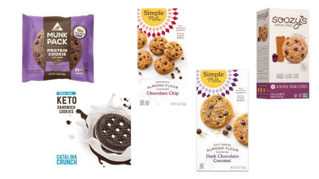 Simple Mills Crunchy Cookies, Simple Mills Soft Baked Cookies, Soozy's Grain Free Cookies, Catalina Crunch Chocolate Vanilla Sandwich Cookies, MunkPack Protein Cookie packaged snacks for diabetes