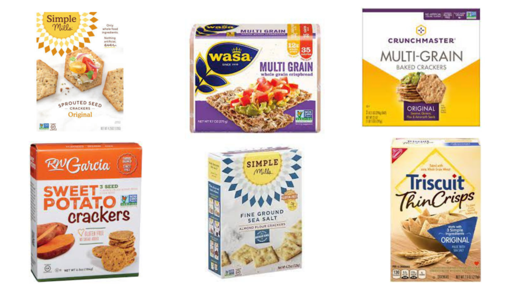 Simple Mills Almond Flour Crackers, Simple Mills Sprouted Seed Crackers, Wasa Multigrain Crackers, Triscuit Thin Crisps, RW Garcia Veggie Crackers, Crunchmaster Multi Seed Crackers packaged snacks for diabetes