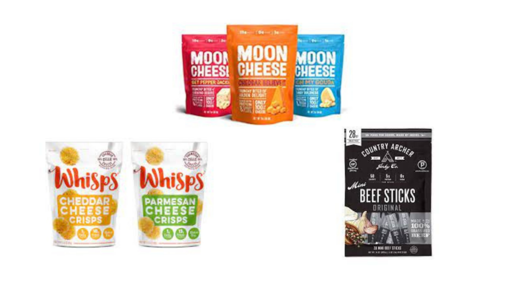 Moon Cheese, Whisps, Country Archer Meat Sticks packaged snacks for diabetes